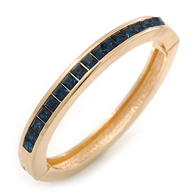 Gold Plated Dark Blue Austrian Crystal Oval Magnetic Bangle - 18cm L
