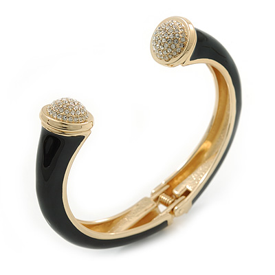 Black Enamel, Crystal Hinged Cuff Bangle Bracelet In Gold Plated Metal - 19cm L - main view