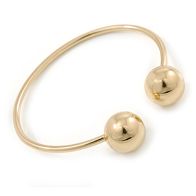 Gold Plated Double Ball Cuff Bangle Bracelet - 18cm L - Adjustable - main view