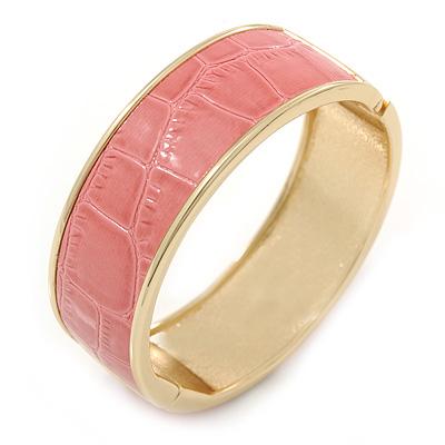 Pink Leather Style Snake Print Magnetic Bangle Bracelet In Gold Plating - 19cm L
