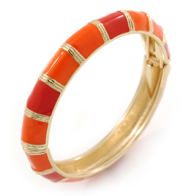 Bright Orange Enamel Hinged Bangle Bracelet In Gold Plating - 19cm L - main view