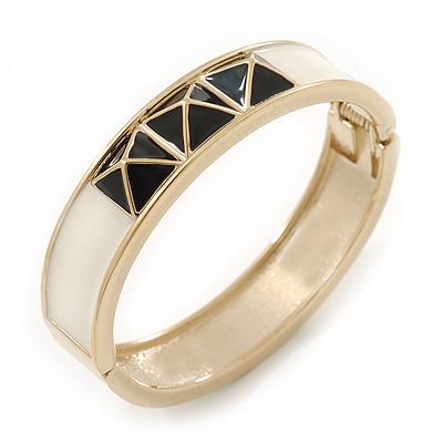 White Enamel, Black Square Pyramid Stud Hinged Bangle Bracelet In Gold Plating - 19cm L - main view