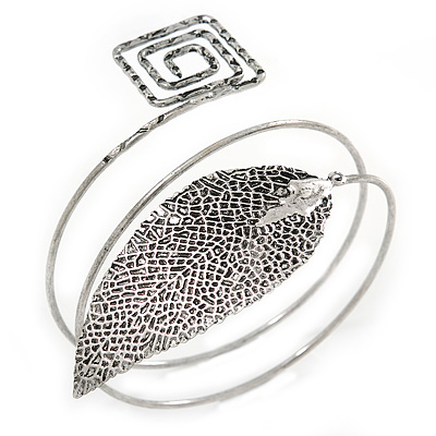 Antique Silver Leaf and Square Motif Upper Arm, Armlet Bracelet - 27cm L