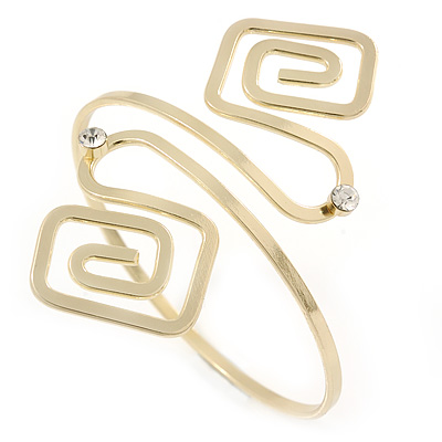 Polished Gold Tone Swirl Squares Upper Arm, Armlet Bracelet - 27cm L - Adjustable