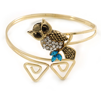 Vintage Inspired Crystal Owl Upper Arm, Armlet Bracelet In Burnt Gold Tone - 27cm L - Adjustable - main view