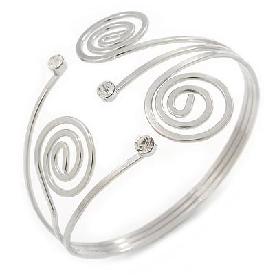 Swirl, Diamante Upper Arm, Armlet Bracelet In Silver Tone - 27cm L - Adjustable