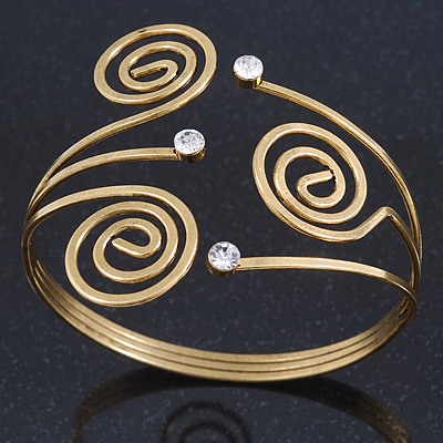 Vintage Inspired Swirl, Diamante Upper Arm, Armlet Bracelet In Gold Plating - 27cm L - Adjustable