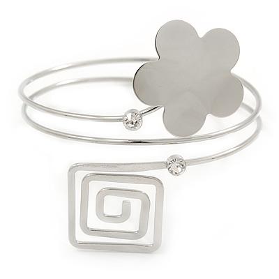 Silver Tone Flower And Square Crystal Upper Arm/ Armlet Bracelet - 26cm L