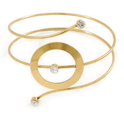 Gold Tone Open Circle Geometric with Clear Accent Upper Arm/ Armlet Bracelet - up to 27cm L