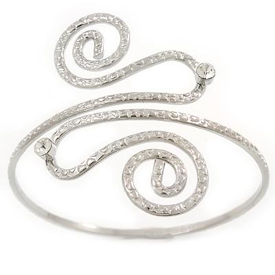 Vintage Inspired Hammered Twirl, Crystal Upper Arm, Armlet Bracelet In Silver Tone - 27cm L - Adjustable
