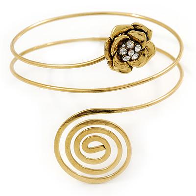 Gold Tone Crystal Flower and Swirl Circle Upper Arm, Armlet Bracelet - 27cm L