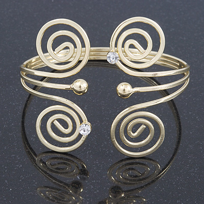 Greek Style Swirl Upper Arm, Armlet Bracelet In Gold Plating - 27cm L - Adjustable