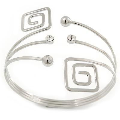 Silver Tone Greek Style Square, Crystal Upper Arm/ Armlet Bracelet - 27cm L