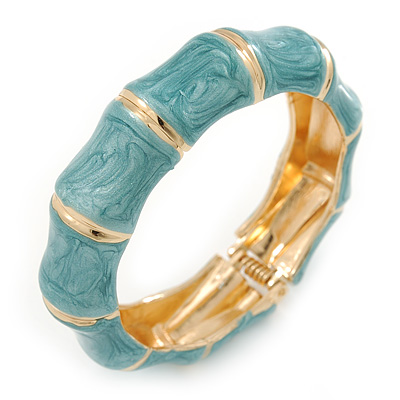 Light Blue Enamel Segmental Hinged Bangle Bracelet In Gold Plating - 19cm L - main view