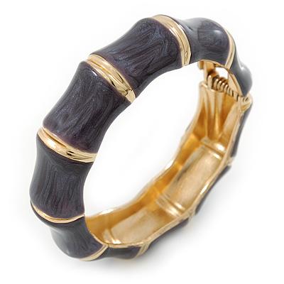 Dark Grey Enamel Segmental Hinged Bangle Bracelet In Gold Plating - 19cm L