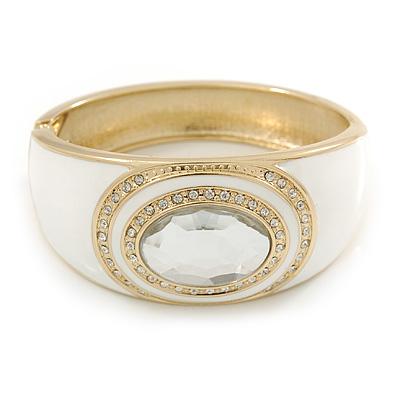White Enamel Crystal Hinged Bangle Bracelet In Gold Plating - 18cm L - main view