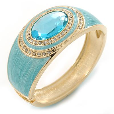 Aqua Blue Enamel Crystal Hinged Bangle Bracelet In Gold Plating - 18cm L