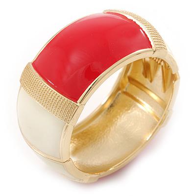 Chunky Cream/ Raspberry Enamel Hinged Bangle Bracelet In Gold Tone - 19cm L
