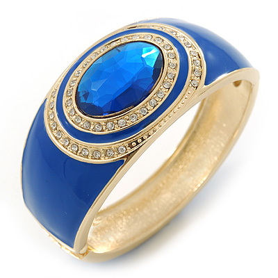 Royal Blue Enamel Crystal Hinged Bangle Bracelet In Gold Plating - 18cm L