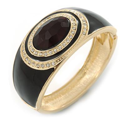 Black Enamel Crystal Hinged Bangle Bracelet In Gold Plating - 18cm L