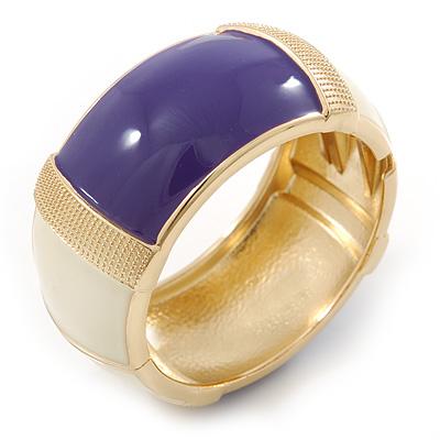 Chunky Cream/ Purple Enamel Hinged Bangle Bracelet In Gold Tone - 19cm L