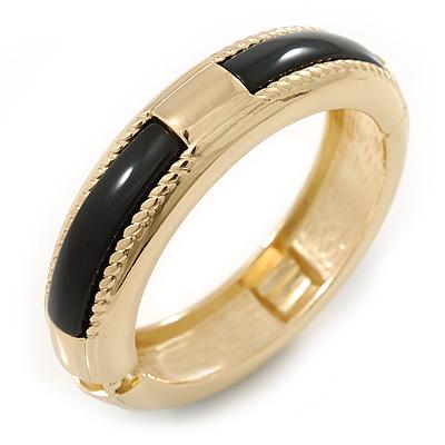 Gold Plated Black Resin Round Hinged Bangle Bracelet - 19cm L