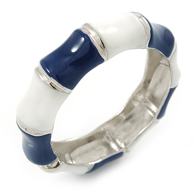 Navy Blue/ White Enamel Segmental Hinged Bangle Bracelet In Rhodium Plating - 19cm L