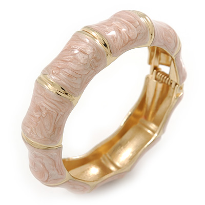 Dusty Pink Enamel Segmental Hinged Bangle Bracelet In Gold Plating - 19cm L