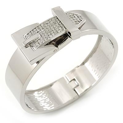 Polished Silver Tone, Clear Crystal 'Belt' Bangle Bracelt - 19cm L