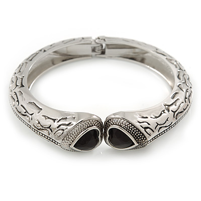 Vintage Inspired Double Heart Etched Hinged Bangle Bracelet In Silver Tone - 18cm L - main view