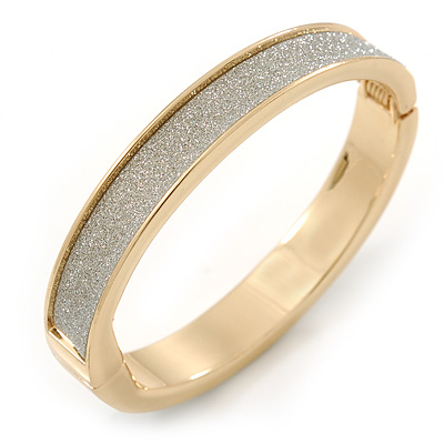 Gold Plated Silver Glitter Oval Hinge Bangle Bracelet - 18cm L