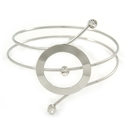 Silver Tone Open Circle Geometric with Clear Accent Upper Arm/ Armlet Bracelet - up to 27cm L - main view