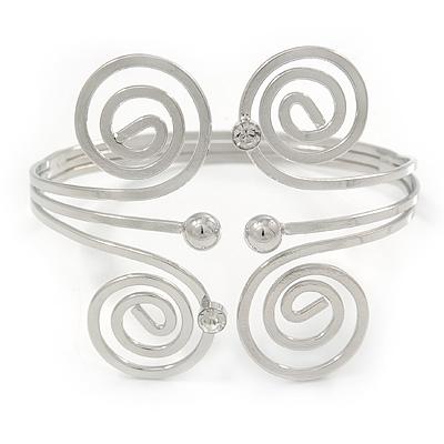 Greek Style Swirl Upper Arm, Armlet Bracelet In Rhodium Plating - 27cm L - Adjustable