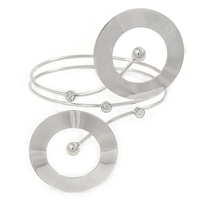 Contemporary Open Cut Circle, Crystal Upper Arm, Armlet Bracelet In Rhodium Plating - 27cm L