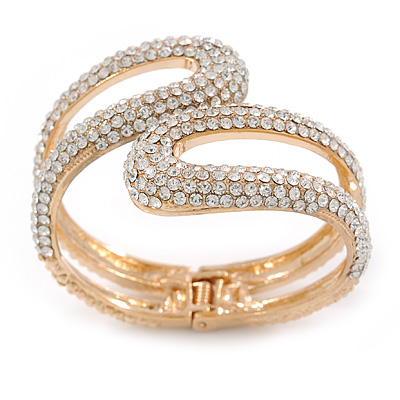 Clear Crystal Double Loop Hinged Bangle In Gold Plating - up to 20cm L