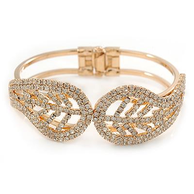 Gold Plated Clear Crystal Leaf Hinged Bangle Bracelet -  up to 19cm L