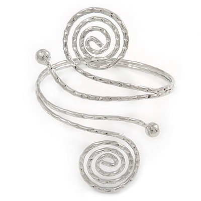 Egyptian Style Swirl Upper Arm, Armlet Bracelet In Rhodium Plating with Hammered Detailing - Adjustable