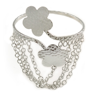 Silver Tone Double Flower Hammered Upper Arm/ Armlet Bracelet with Chains - Adjustable
