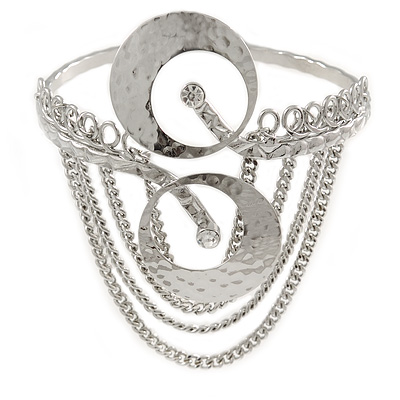 Silver Tone Double Disk Hammered Upper Arm/ Armlet Bracelet with Chains - Adjustable