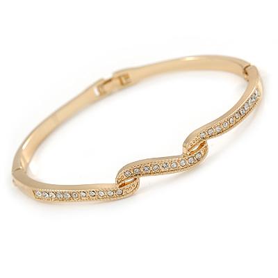 Delicate Clear Crystal Triple Leaf Bangle Bracelet In Gold Plating - 18cm L