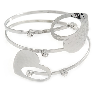 Silver Plated Hammered Double Heart Armlet Bangle - 27cm L