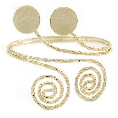 Gold Tone Hammered Circles And Swirls Upper Arm/ Armlet Bracelet - Adjustable - main view