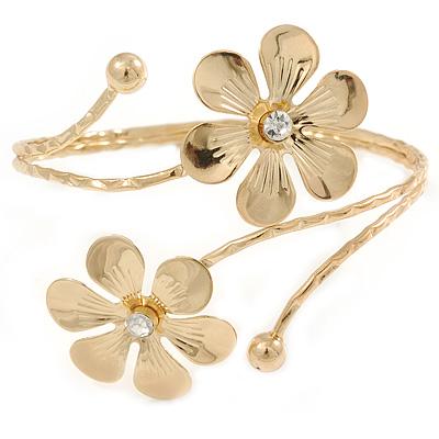 Gold Tone Double Flower Upper Arm, Armlet Bracelet - Adjustable
