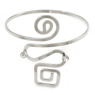 Polished Silver Tone Square and Circle Geometric Upper Arm, Armlet Bracelet - 27cm L - Adjustable
