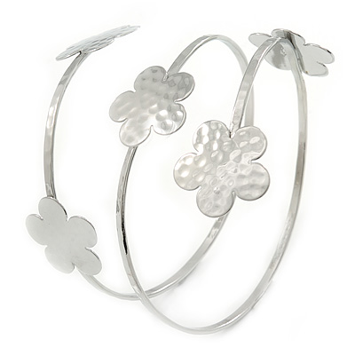 Hammered Silver Tone Multi Flower Upper Arm, Armlet Bracelet - 27cm L