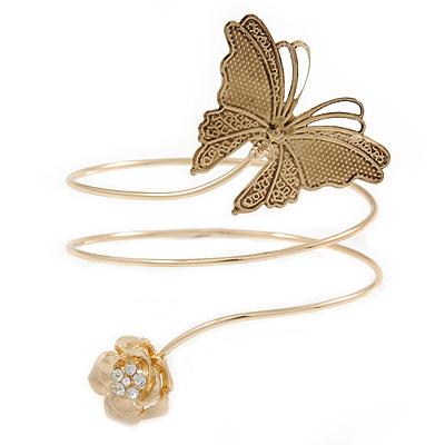 Vintage Inspired Hammered Butterfly & Flower Upper Arm, Armlet Bracelet In Gold Tone - 27cm Length