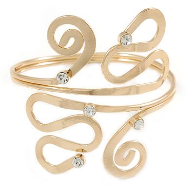 Polished Gold Tone Curls and Loops Upper Arm/ Armlet Bracelet - Adjustable