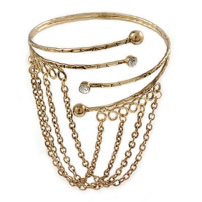 Antique Gold Tone Hammered Upper Arm/ Armlet Bracelet with Chains - Adjustable