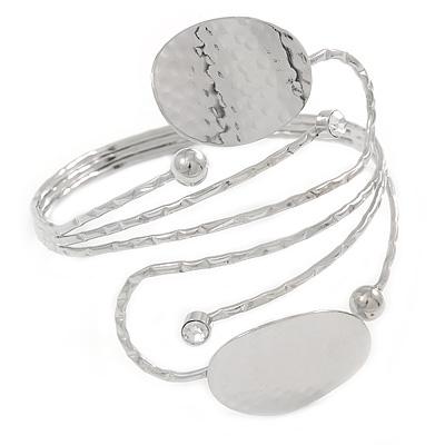 Silver Plated Hammered Oval Leaf Upper Arm, Armlet Bracelet - Adjustable - main view