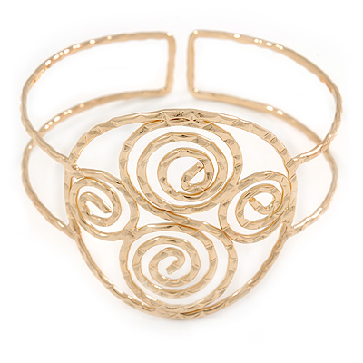 Greek Style Twirl Upper Arm, Armlet Bracelet In Hammered Gold Plating - Adjustable - main view